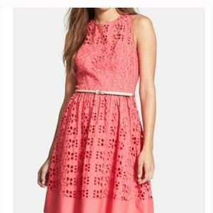 Eliza J Pink Eyelet Fit and Flare Dress